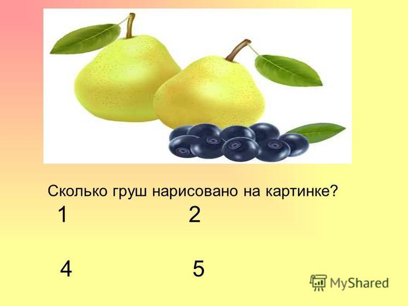 Сколько груш нарисовано на картинке? 1 2 4 5