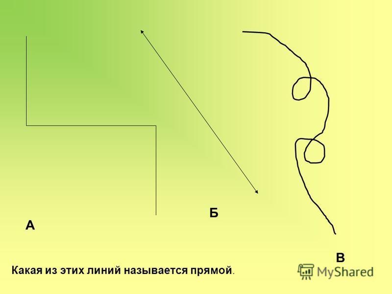 А Б В Какая из этих линий называется прямой.