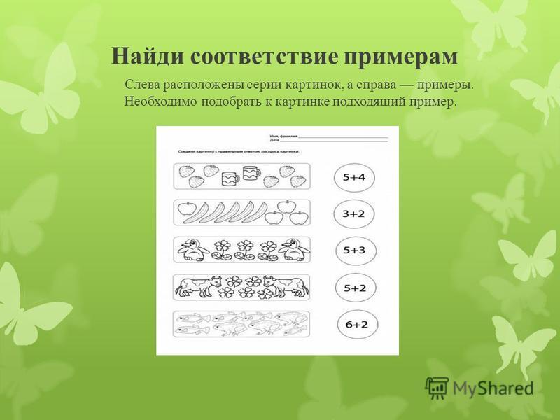 Найди соответствие примерам Слева расположены серии картинок, а справа примеры. Необходимо подобрать к картинке подходящий пример.