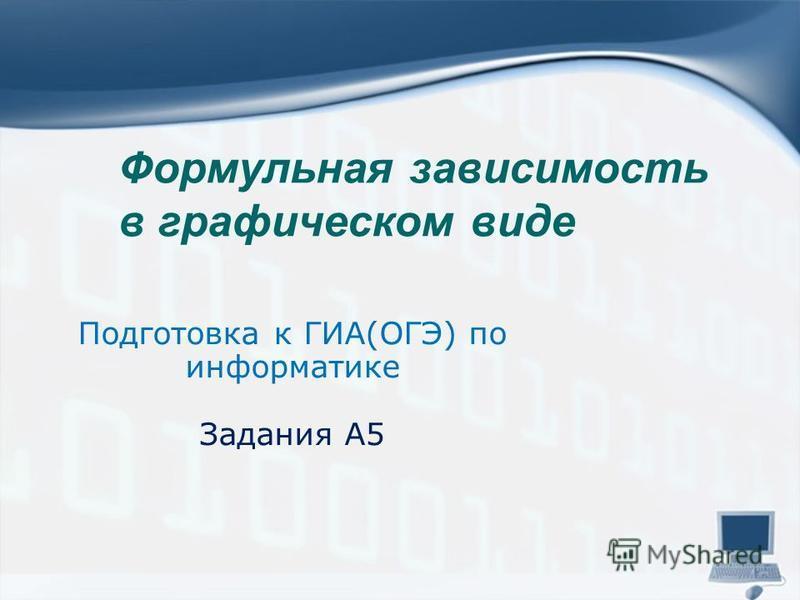 Формульная зависимость в графическом виде Подготовка к ГИА(ОГЭ) по информатике Задания А5
