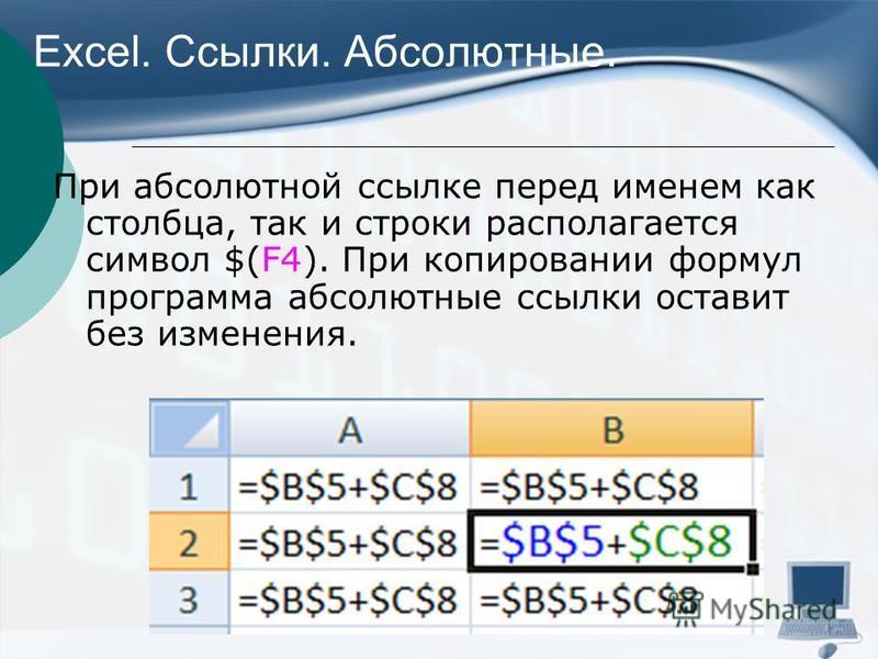 Excel. Ссылки. Абсолютные. При абсолютной ссылке перед именем как столбца, так и строки располагается символ $(F4). При копировании формул программа абсолютные ссылки оставит без изменения.