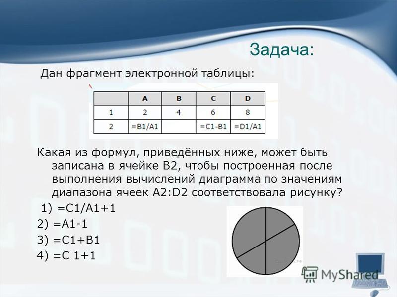 Задача: Дан фрагмент электронной таблицы: Какая из формул, приведённых ниже, может быть записана в ячейке В2, чтобы построенная после выполнения вычислений диаграмма по значениям диапазона ячеек A2:D2 соответствовала рисунку? 1) =С1/А1+1 2) =А1-1 3)