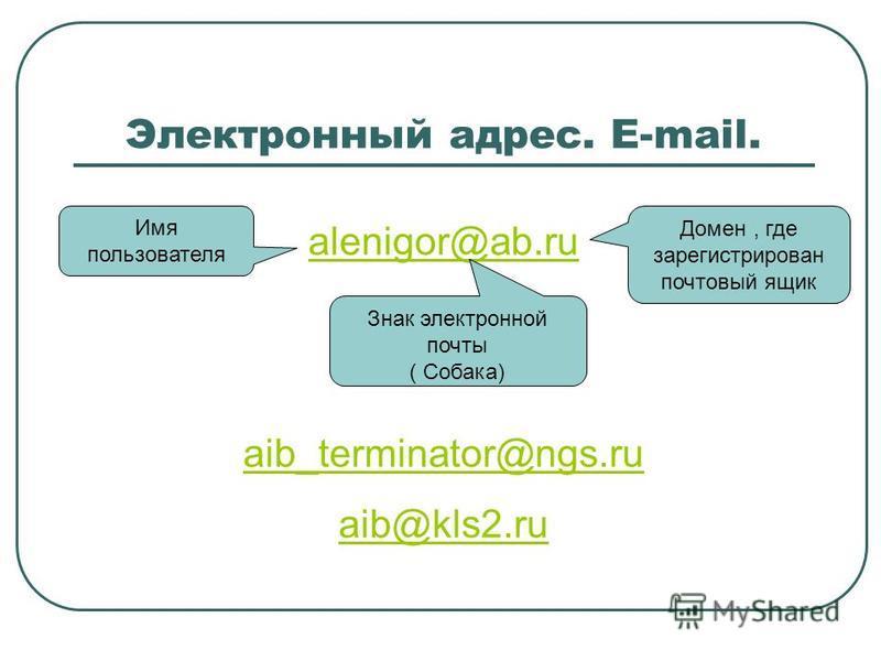 Электронный адрес. E-mail. alenigor@ab.ru aib_terminator@ngs.ru aib@kls2. ru Имя пользователя Домен, где зарегистрирован почтовый ящик Знак электронной почты ( Собака)