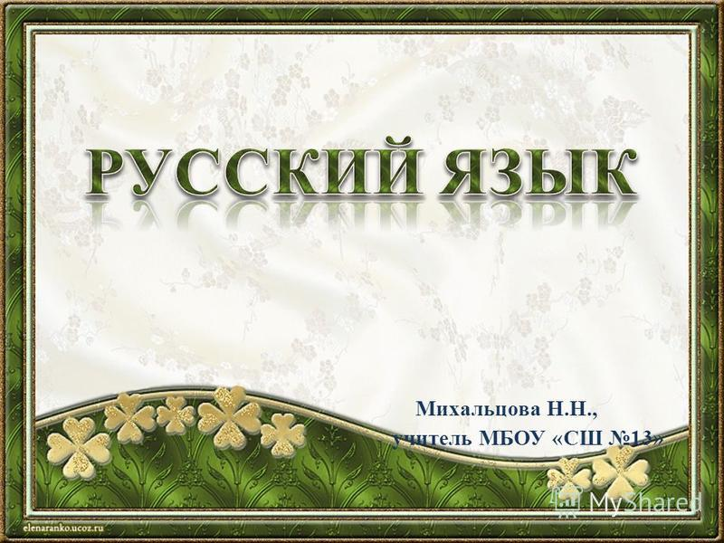 Михальцова Н.Н., учитель МБОУ «СШ 13»