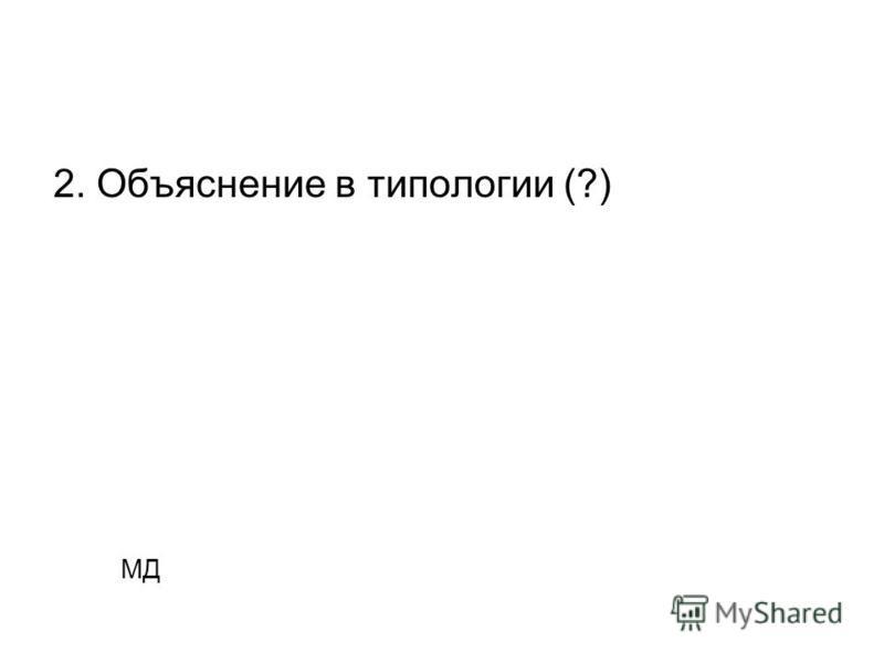 2. Объяснение в типологии (?) МД