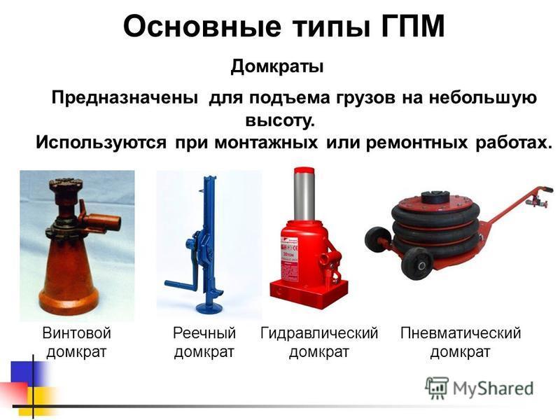 Реечный домкрат Основные типы ГПМ Предназначены для подъема грузов на небольшую высоту. Используются при монтажных или ремонтных работах. Домкраты Винтовой домкрат Гидравлический домкрат Пневматический домкрат