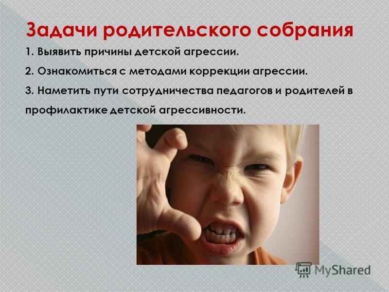Задачи родительского собрания 1. Выявить причины детской агрессии. 2. Ознакомиться с методами коррекции агрессии. 3. Наметить пути сотрудничества педагогов и родителей в профилактике детской агрессивности.