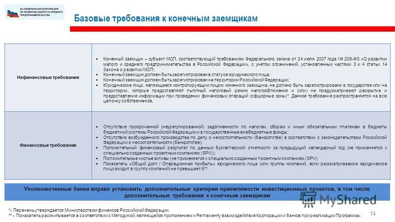 Базовые требования к конечным заемщикам Нефинансовые требования Конечный заемщик – субъект МСП, соответствующий требованиям Федерального закона от 24 июля 2007 года 209-ФЗ «О развитии малого и среднего предпринимательства в Российской Федерации», с у