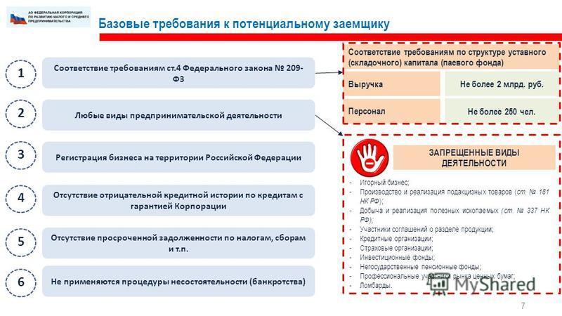 Базовые требования к потенциальному заемщику 7 Соответствие требованиям ст.4 Федерального закона 209- ФЗ Любые виды предпринимательской деятельности Регистрация бизнеса на территории Российской Федерации Отсутствие отрицательной кредитной истории по