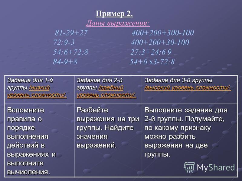 Задание для 1-й группы /низкий уровень сложности/. Задание для 2-й группы /средний уровень сложности/. Задание для 3-й группы /высокий уровень сложности/. Вспомните правила о порядке выполнения действий в выражениях и выполните вычисления. Разбейте в