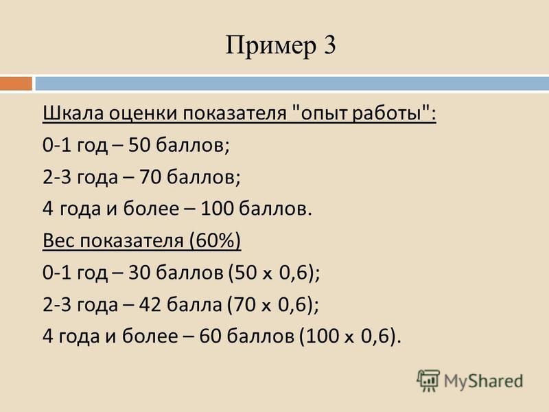 Пример 3 Шкала оценки показателя  опыт работы : 0-1 год – 50 баллов ; 2-3 года – 70 баллов ; 4 года и более – 100 баллов. Вес показателя (60%) 0-1 год – 30 баллов (50 x 0,6); 2-3 года – 42 балла (70 x 0,6); 4 года и более – 60 баллов (100 x 0,6).