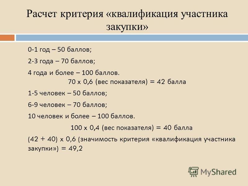 Расчет критерия «квалификация участника закупки» 0-1 год – 50 баллов ; 2-3 года – 70 баллов ; 4 года и более – 100 баллов. 70 x 0,6 ( вес показателя ) = 42 балла 1-5 человек – 50 баллов ; 6-9 человек – 70 баллов ; 10 человек и более – 100 баллов. 100