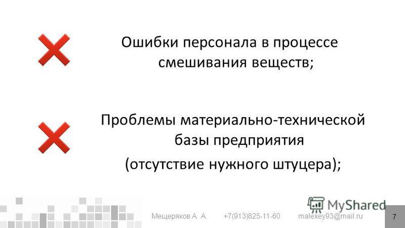 7 Мещеряков А. А. +7(913)825-11-60 malexey93@mail.ru Ошибки персонала в процессе смешивания веществ; Проблемы материально-технической базы предприятия (отсутствие нужного штуцера);