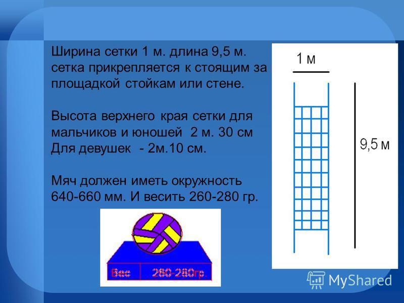 Ширина сетки 1 м. длина 9,5 м. сетка прикрепляется к стоящим за площадкой стойкам или стене. Высота верхнего края сетки для мальчиков и юношей 2 м. 30 см Для девушек - 2 м.10 см. Мяч должен иметь окружность 640-660 мм. И весить 260-280 гр.