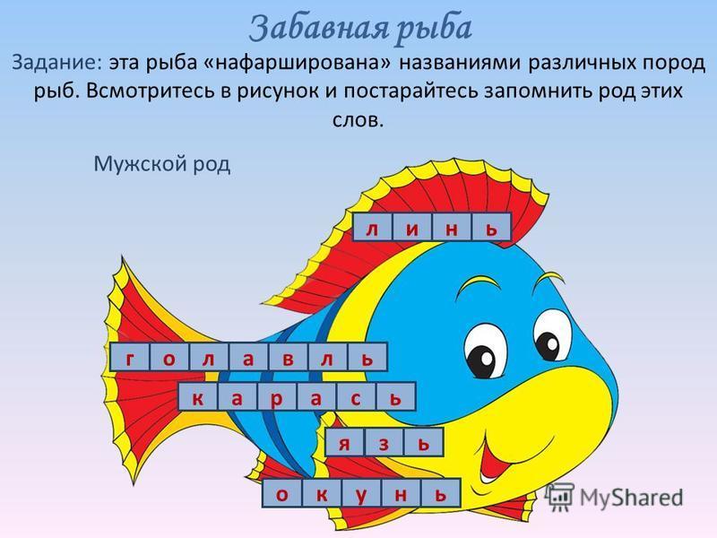 Задание: эта рыба «нафарширована» названиями различных пород рыб. Всмотритесь в рисунок и постарайтесь запомнить род этих слов. Забавная рыба ола Мужской род ьнил окунь карась гель язь