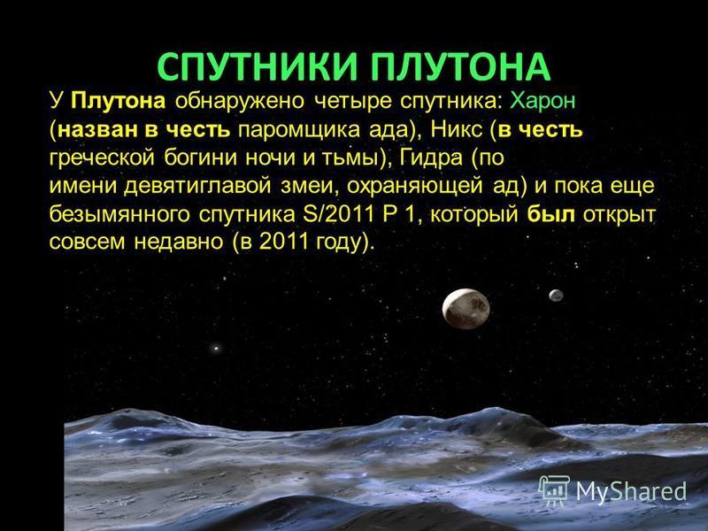 СПУТНИКИ ПЛУТОНА У Плутона обнаружено четыре спутника: Харон (назван в честь паромщика ада), Никс (в честь греческой богини ночи и тьмы), Гидра (по имени девятиглавой змеи, охраняющей ад) и пока еще безымянного спутника S/2011 P 1, который был открыт