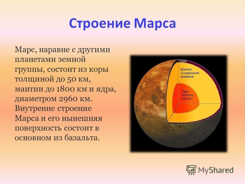 Строение Марса Марс, наравне с другими планетами земной группы, состоит из коры толщиной до 50 км, мантии до 1800 км и ядра, диаметром 2960 км. Внутренне строение Марса и его нынешняя поверхность состоит в основном из базальта.