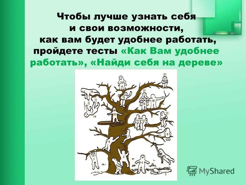 Чтобы лучше узнать себя и свои возможности, как вам будет удобнее работать, пройдете тесты «Как Вам удобнее работать», «Найди себя на дереве»