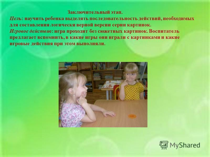 Заключительный этап. Цель : научить ребенка выделять последовательность действий, необходимых для составления логически верной версии серии картинок. Игровое действие : игра проходит без сюжетных картинок. Воспитатель предлагает вспомнить, в какие иг