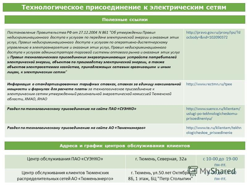 Технологическое присоединение к электрическим сетям Полезные ссылки Постановление Правительства РФ от 27.12.2004 N 861