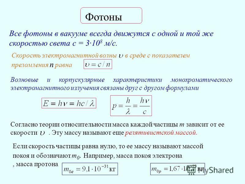 Фотоны Все фотоны в вакууме всегда движутся с одной и той же скоростью света с = 3·10 8 м/с. Скорость электромагнитной волны в среде с показателем преломления n равна Волновые и корпускулярные характеристики монохроматического электромагнитного излуч