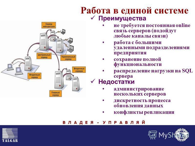 Работа в единой системе Преимущества не требуется постоянная online связь серверов (подойдут любые каналы связи) работа с большими удаленными подразделениями предприятия сохранение полной функциональности распределение нагрузки на SQL сервера Недоста