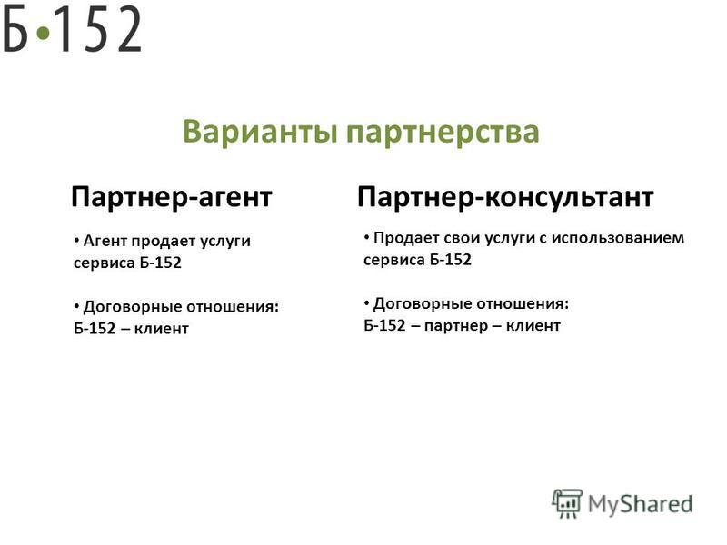 Варианты партнерства Партнер-агент Партнер-консультант Агент продает услуги сервиса Б-152 Договорные отношения: Б-152 – клиент Продает свои услуги с использованием сервиса Б-152 Договорные отношения: Б-152 – партнер – клиент