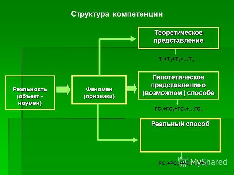 Структура компетенции Реальный способ Гипотетическое представление о (возможном ) способе Феномен (признаки) Реальность (объект - ноумен) Теоретическое представление Т 1 +Т 2 +Т 3 +…Т n ГС 1 +ГС 2 +ГС 3 +…ГС n РС 1 +РС 2 +РС 3 +…РС n