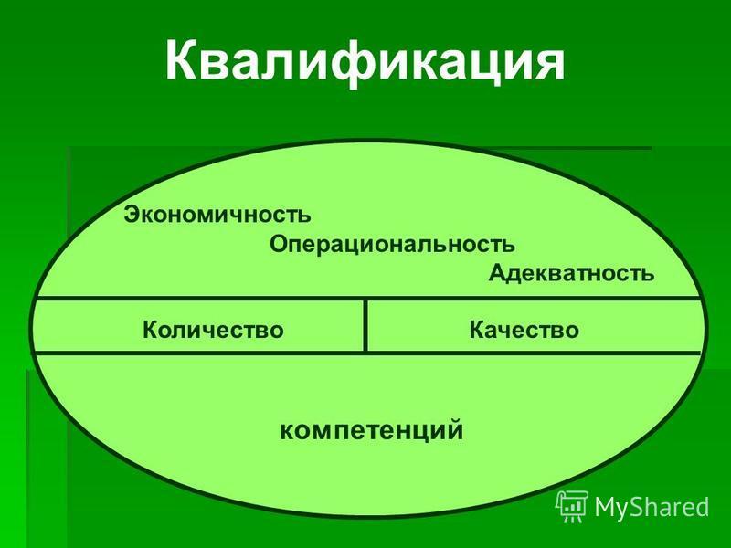 Квалификация Количество Качество компетенций Экономичность Операциональность Адекватность