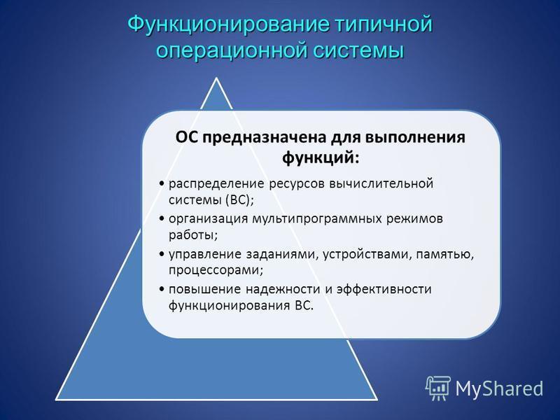 ОС предназначена для выполнения функций: распределение ресурсов вычислительной системы (ВС); организация мультипрограммных режимов работы; управление заданиями, устройствами, памятью, процессорами; повышение надежности и эффективности функционировани