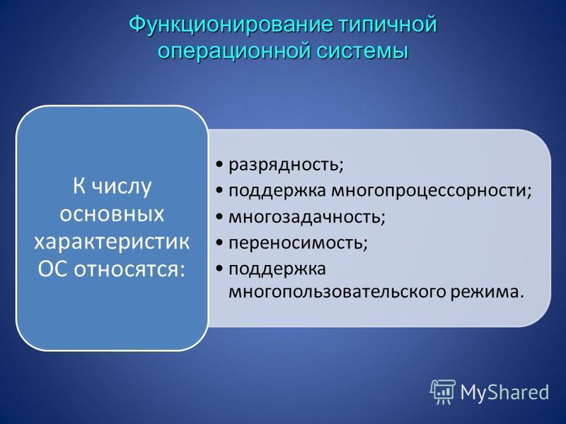 разрядность; поддержка многопроцессорности; многозадачность; переносимость; поддержка многопользовательского режима. К числу основных характеристик ОС относятся: Функционирование типичной операционной системы