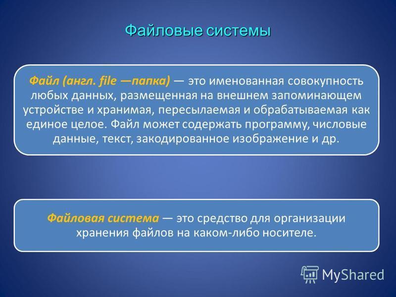 Файловые системы Файл (англ. file папка) это именованная совокупность любых данных, размещенная на внешнем запоминающем устройстве и хранимая, пересылаемая и обрабатываемая как единое целое. Файл может содержать программу, числовые данные, текст, зак