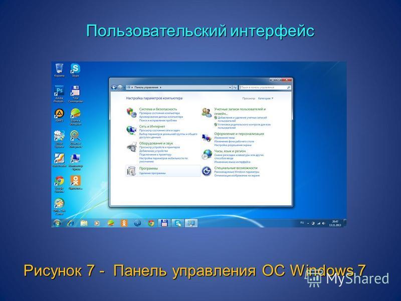 Пользовательский интерфейс Пользовательский интерфейс Рисунок 7 - Панель управления ОС Windows 7