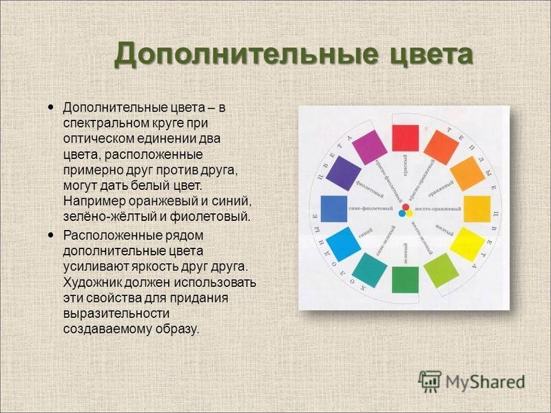 Дополнительные цвета Дополнительные цвета – в спектральном круге при оптическом единении два цвета, расположенные примерно друг против друга, могут дать белый цвет. Например оранжевый и синий, зелёно-жёлтый и фиолетовый. Расположенные рядом дополните