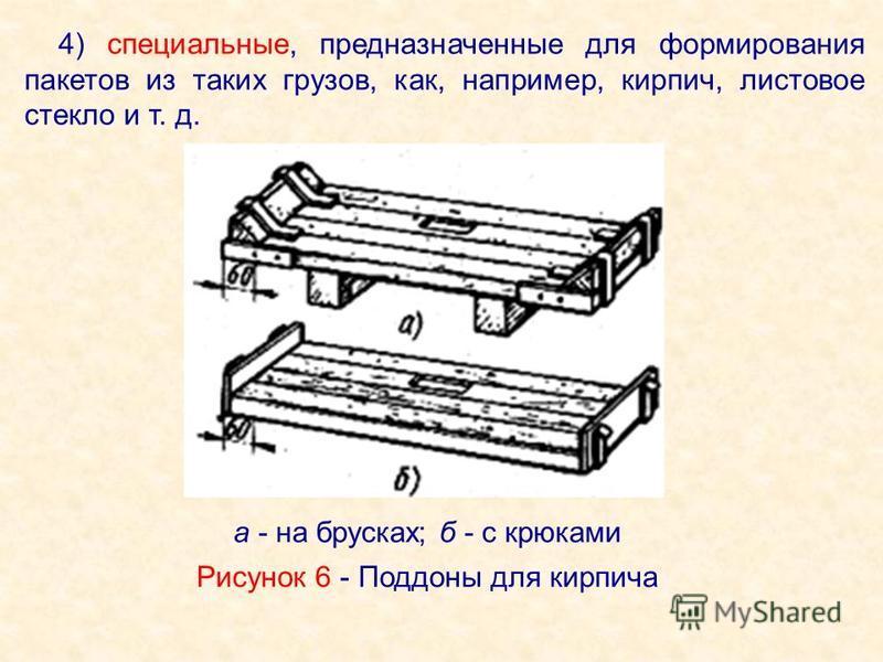 4) специальные, предназначенные для формирования пакетов из таких грузов, как, например, кирпич, листовое стекло и т. д. Рисунок 6 - Поддоны для кирпича а - на брусках; б - с крюками