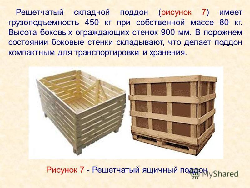 Решетчатый складной поддон (рисунок 7) имеет грузоподъемность 450 кг при собственной массе 80 кг. Высота боковых ограждающих стенок 900 мм. В порожнем состоянии боковые стенки складывают, что делает поддон компактным для транспортировки и хранения. Р