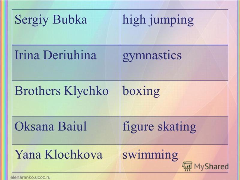 Sergiy Bubkahigh jumping Irina Deriuhinagymnastics Brothers Klychkoboxing Oksana Baiulfigure skating Yana Klochkovaswimming