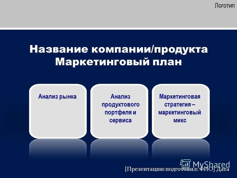 Название компании/продукта Маркетинговый план Логотип Анализ рынка [Презентацию подготовил: ФИО] Дата Анализ продуктового портфеля и сервиса Маркетинговая стратегия – маркетинговый микс