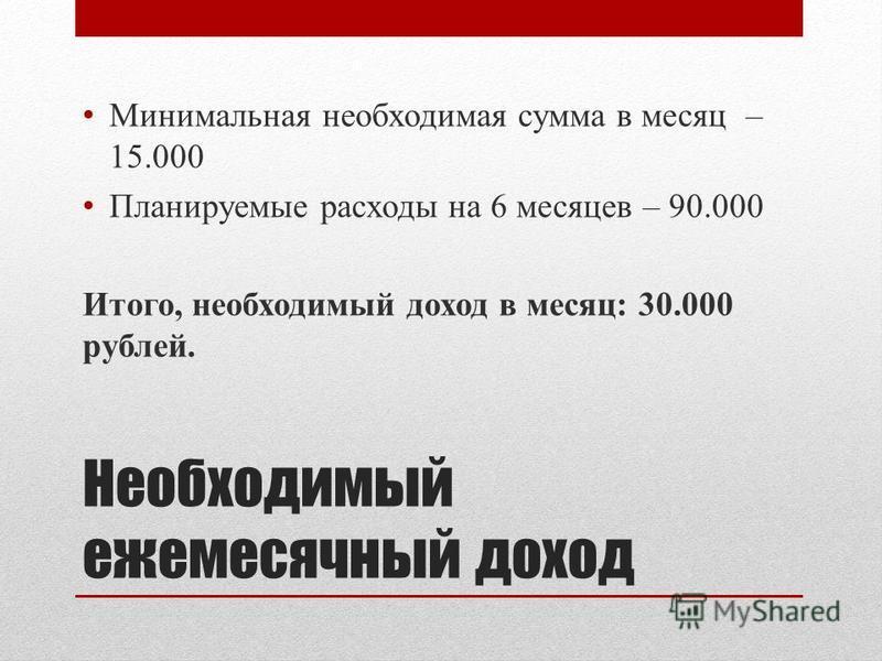 Необходимый ежемесячный доход Минимальная необходимая сумма в месяц – 15.000 Планируемые расходы на 6 месяцев – 90.000 Итого, необходимый доход в месяц: 30.000 рублей.