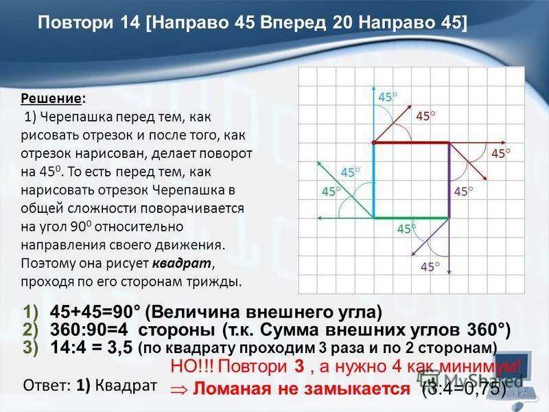 Решение: 1) Черепашка перед тем, как рисовать отрезок и после того, как отрезок нарисован, делает поворот на 45 0. То есть перед тем, как нарисовать отрезок Черепашка в общей сложности поворачивается на угол 90 0 относительно направления своего движе