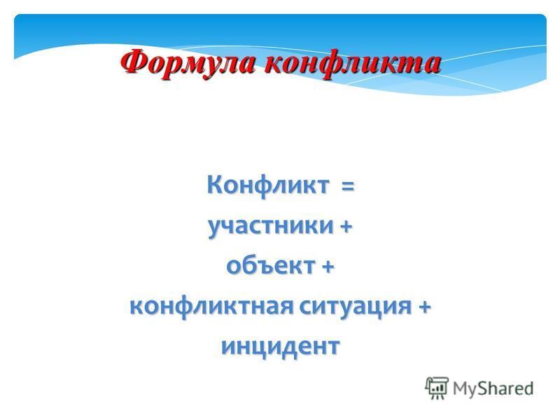 Формула конфликта Конфликт = участники + объект + конфликтная ситуация + инцидент