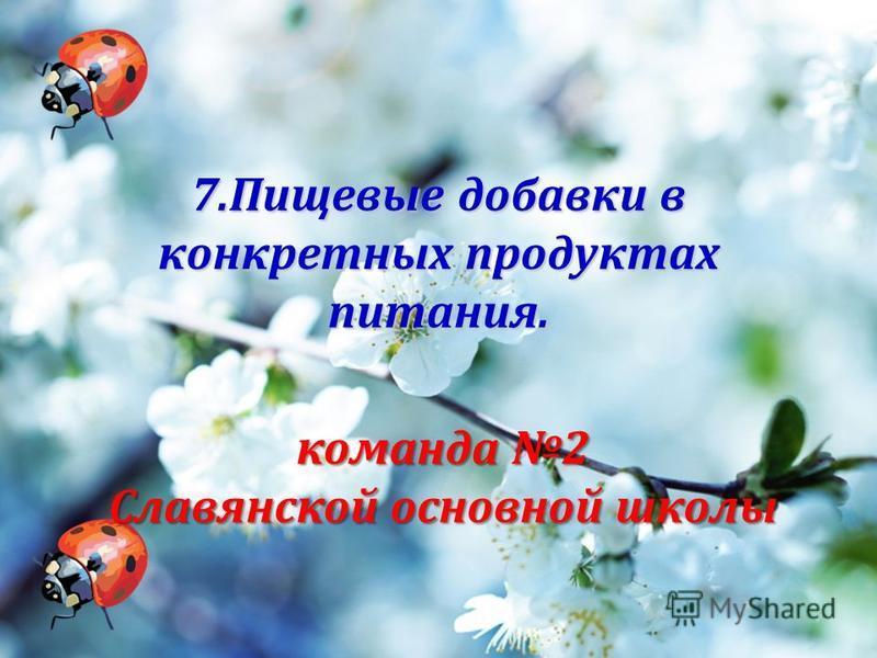 7. Пищевые добавки в конкретных продуктах питания. команда 2 Славянской основной школы
