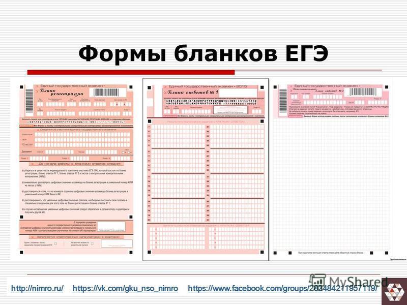 Формы бланков ЕГЭ http://nimro.ru/http://nimro.ru/ https://vk.com/gku_nso_nimro https://www.facebook.com/groups/282484211957119/https://vk.com/gku_nso_nimrohttps://www.facebook.com/groups/282484211957119/