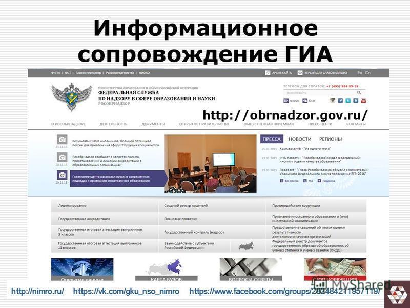 Информационное сопровождение ГИА http://obrnadzor.gov.ru/ http://nimro.ru/http://nimro.ru/ https://vk.com/gku_nso_nimro https://www.facebook.com/groups/282484211957119/https://vk.com/gku_nso_nimrohttps://www.facebook.com/groups/282484211957119/