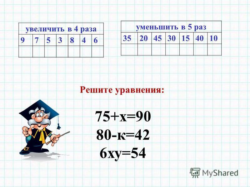 увеличить в 4 раза 9753846 уменьшить в 5 раз 35204530154010 Решите уравнения: 75+х=90 80-к=42 6 ху=54