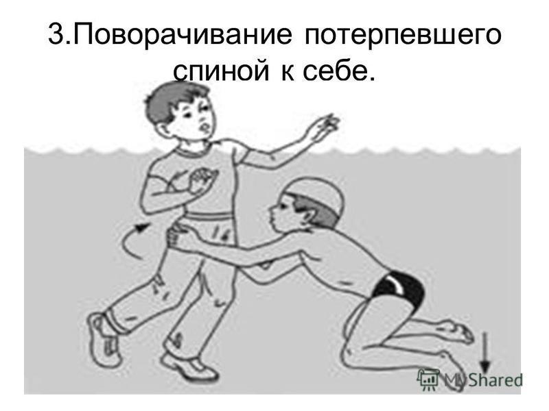 3. Поворачивание потерпевшего спиной к себе.