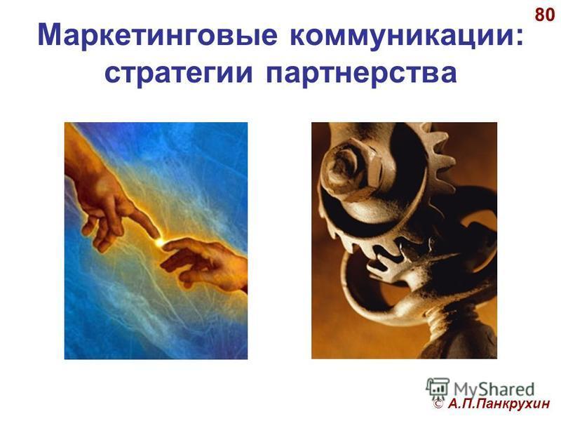 © А.П.Панкрухин 80 Маркетинговые коммуникации: стратегии партнерства