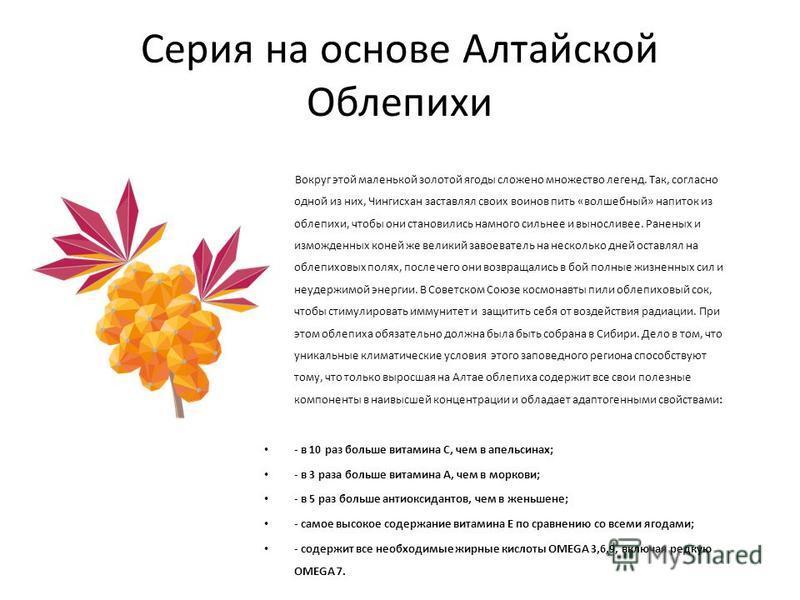 Серия на основе Алтайской Облепихи Вокруг этой маленькой золотой ягоды сложено множество легенд. Так, согласно одной из них, Чингисхан заставлял своих воинов пить «волшебный» напиток из облепихи, чтобы они становились намного сильнее и выносливее. Ра