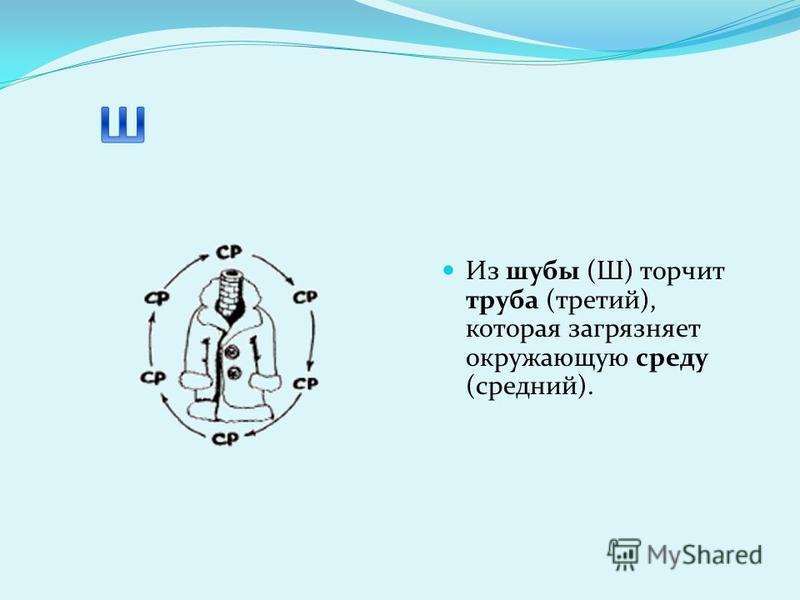 Из шубы (Ш) торчит труба (третий), которая загрязняет окружающую среду (средний).