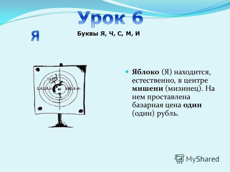 Яблоко (Я) находится, естественно, в центре мишени (мизинец). На нем проставлена базарная цена один (один) рубль. Буквы Я, Ч, С, М, И